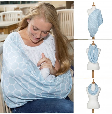 Cuddle Co Comfi Love 2 in 1 Infinity Maternity Designer Nursing Scarf - Blue Honeycomb